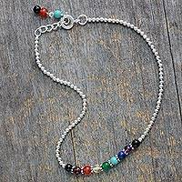 Multi-gemstone beaded anklet, 'Peace Chakra' - Multicolored Gemstone Chakra Anklet from India