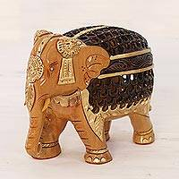 Wood sculpture, 'Elephant Magnificence' - Hand-Carved Kadam Wood Sculpture of an Elephant from India