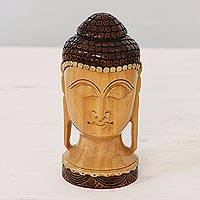 Wood sculpture, 'Buddha At Peace' - Hand-Carved Kadam Wood Sculpture of Buddha from India