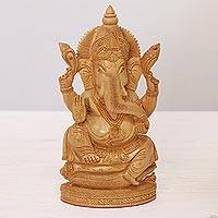 Wood sculpture, 'Royal Protector' - Hand-Carved Kadam Wood Sculpture of Ganesha from India