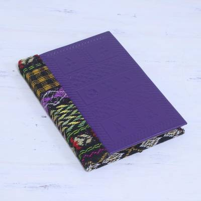 Leather accent cotton journal, 'Blue-Violet Delight' - Leather Accent Cotton Journal in Blue-Violet from India