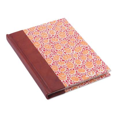 Leather-accented journal, 'Sunny Blossoms' - Handcrafted Floral Leather-Accented Journal from India