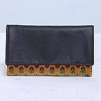 Leather accent cotton clutch, 'Flower Bed' - Leather Accent Cotton Clutch with Floral Motifs from India