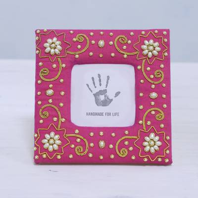 Cotton photo frame, 'Fuchsia Memories' (3x3) - Embroidered Cotton Photo Frame (3x3) from India