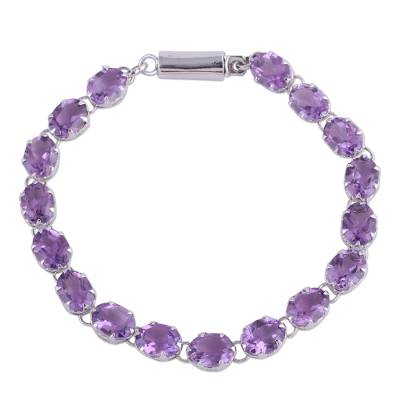 Amethyst tennis bracelet, 'Royal Magic' - Handcrafted Amethyst Tennis Style Bracelet from India