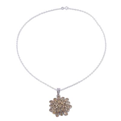 Citrine pendant necklace, 'Sunny Brilliance' - Twenty-Two Carat Citrine Pendant Necklace with Rhodium