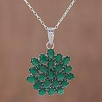 Onyx pendant necklace, 'Verdant Brilliance' - Rhodium Plated Green Onyx Floral Pendant Necklace from India