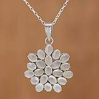 Moonstone pendant necklace, 'Moonlight Brilliance' - Rhodium Plated Moonstone Floral Pendant Necklace from India