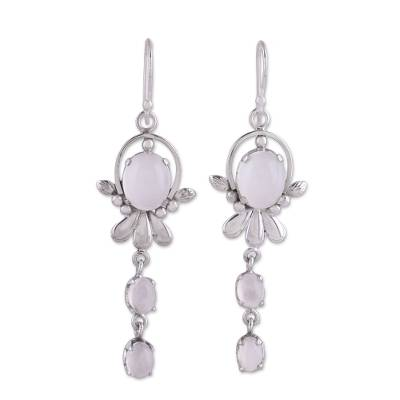 Moonstone dangle earrings, 'Gleaming Radiance' - Rhodium Plated Moonstone Dangle Earrings from India