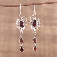 Garnet dangle earrings, 'Red Ecstasy' - Rhodium Plated Garnet Dangle Earrings from India