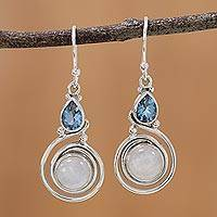 Blue topaz dangle earrings, 'Blissful Fusion' - Moonstone and Blue Topaz Sterling Silver Earrings from India