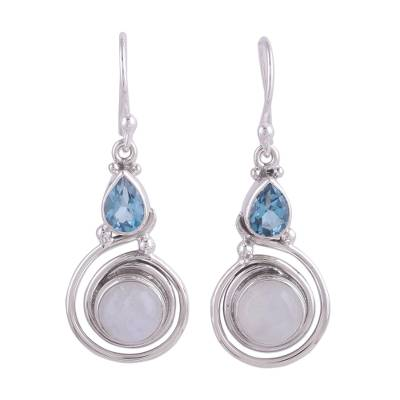 Moonstone and Blue Topaz Unique Silver Earrings from India