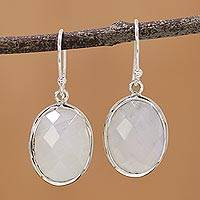 Rainbow moonstone dangle earrings, 'Lucid Dreams' - Checkerboard Faceted Rainbow Moonstone Earrings