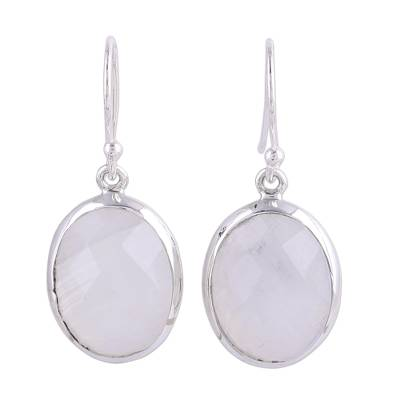 Checkerboard Faceted Rainbow Moonstone Earrings