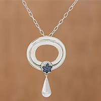 Sterling silver pendant necklace, 'Floral Hoop' - Floral Sterling Silver and Ceramic Necklace from India