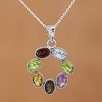 Multi-gemstone pendant necklace, 'Joyful Colors' - Multi-Gemstone Pendant Necklace on Cable Chain