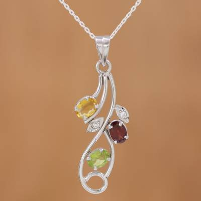 Multi-gemstone pendant necklace, 'Sprightly Bouquet' - Multi Gemstone Pendant Necklace on Rhodium Plated Silver