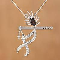 Garnet pendant necklace, 'Melodious Krishna' - Music Themed Krishna Garnet Pendant Necklace
