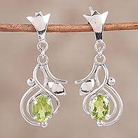 Peridot dangle earrings, 'Green Temptations' - Peridot and Rhodium Plated Sterling Silver Dangle Earrings