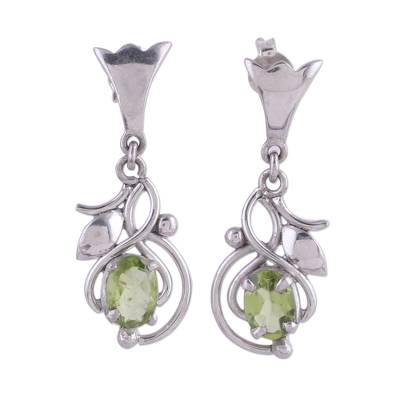 Peridot and Rhodium Plated Sterling Silver Dangle Earrings