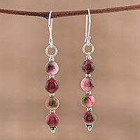 Quartz dangle earrings, 'Happy Delight' - Quartz and Sterling Silver Dangle Earrings from India