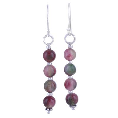 Quartz and Sterling Silver Dangle Earrings from India
