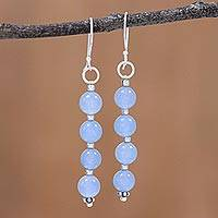 Quartz dangle earrings, 'Happy Delight in Sky Blue' - Quartz Dangle Earrings in Sky Blue from India