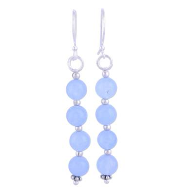 Unique Quartz Sterling Silver Dangle Earrings from India