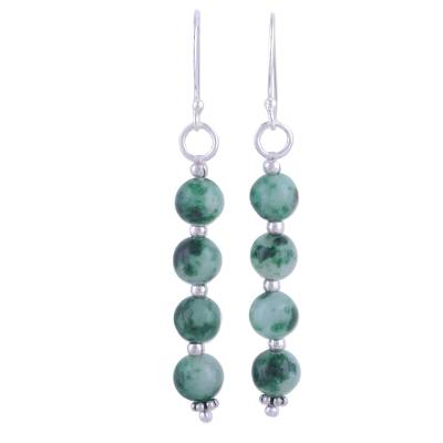 Quartz and Silver Dangle Earrings in Green from India