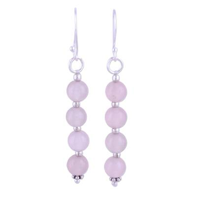Quartz dangle earrings, 'Happy Delight in Pink' - Pink Quartz and Sterling Silver Dangle Earrings from India