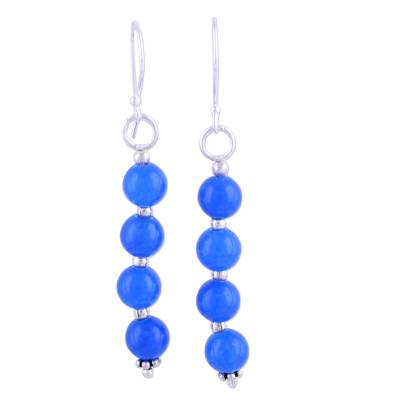 Blue Quartz and Sterling Silver Dangle Earrings from India