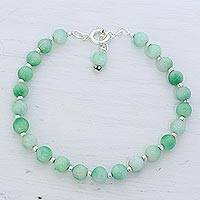 Quartz beaded bracelet, 'Happy Delight in Light Green' - Quartz and Silver Beaded Bracelet in Light Green from India