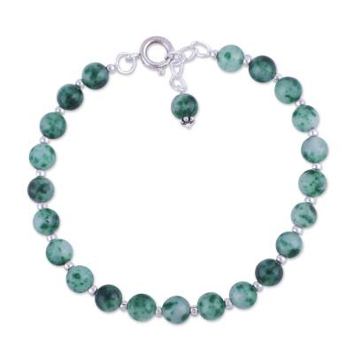 Quartz beaded bracelet, 'Happy Delight in Green' - Quartz and Silver Beaded Bracelet in Green from India