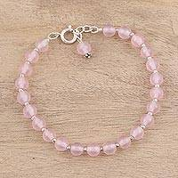 Quartz beaded bracelet, 'Pink Delight' - Handmade Dyed Pink Quartz Beaded Bracelet from India