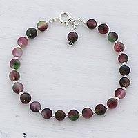 Quartz beaded bracelet, 'Happy Delight' - Colorful Quartz and Silver Beaded Bracelet in from India
