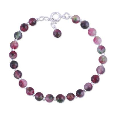 Colorful Quartz and Silver Beaded Bracelet in from India