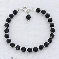 Quartz beaded bracelet, 'Happy Delight in Black' - Quartz and Silver Beaded Bracelet in Black from India