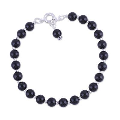 Quartz and Silver Beaded Bracelet in Black from India