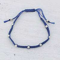 Sterling silver beaded bracelet, 'Peaceful Song in Azure' - Sterling Silver Beaded Bracelet in Azure from India
