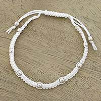 Sterling silver beaded bracelet, 'Peaceful Song in Snow White' - Sterling Silver Beaded Bracelet in Snow White from India
