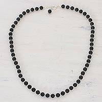 Quartz beaded necklace, 'Happy Delight in Black' - Quartz and Silver Beaded Necklace in Black from India