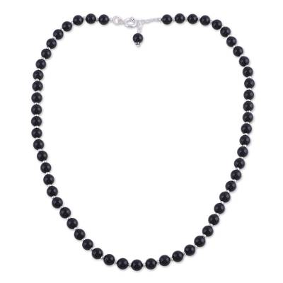 Quartz and Silver Beaded Necklace in Black from India
