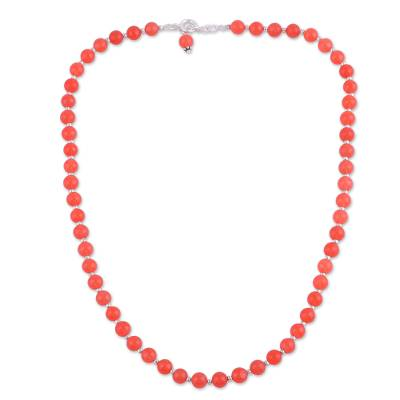 Quartz and Silver Beaded Necklace in Orange from India