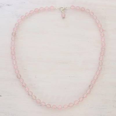 Quartz beaded necklace, 'Happy Delight in Pink' - Quartz and Silver Beaded Necklace in Pink from India