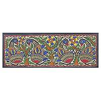 Madhubani painting, 'Bird's Unity II' - Signed Floral Madhubani Bird Painting from India