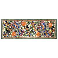 Madhubani painting, 'Fish Union' - Signed Floral Madhubani Painting of Fish from India