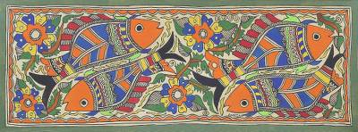 Signed Floral Madhubani Painting of Fish from India