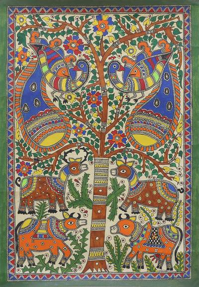 Signed Animal-Themed Madhubani Painting from India