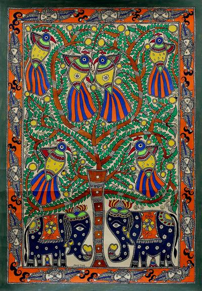 Signed Madhubani Bird and Elephant Painting from India