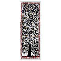 Madhubani painting, 'Spring Feast II' - Signed Tree-Themed Madhubani Painting from India